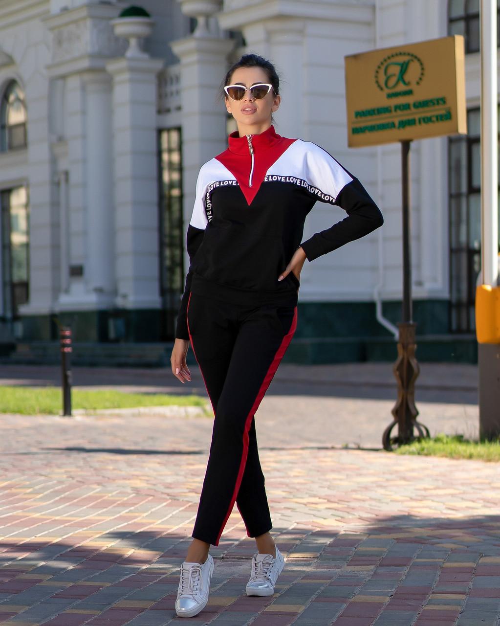 Осенний молодежный женский спортивный трехцветный костюм: кофта реглан и штаны