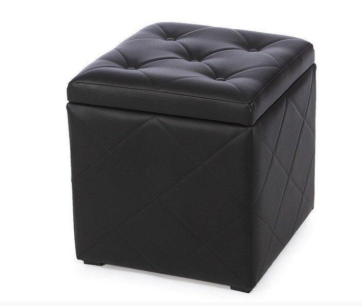 Пуф Ромби-2 Черный с ящиком внутри ,пуфик,пуфики,пуф кожзам,пуф экокожа,банкетка,банкетки,пуф куб,пу