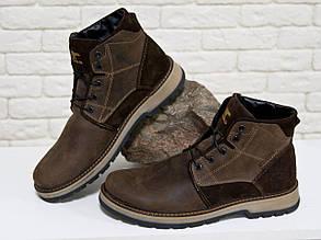 Зимние мужские Ботинки в стиле Тимберленд из натуральной кожи и замши коричневого  цвета, Коллекция осень-зима 2017-2018, Б-44