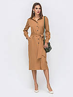Платье рубашка осеннее коричневое 44 46 48 +