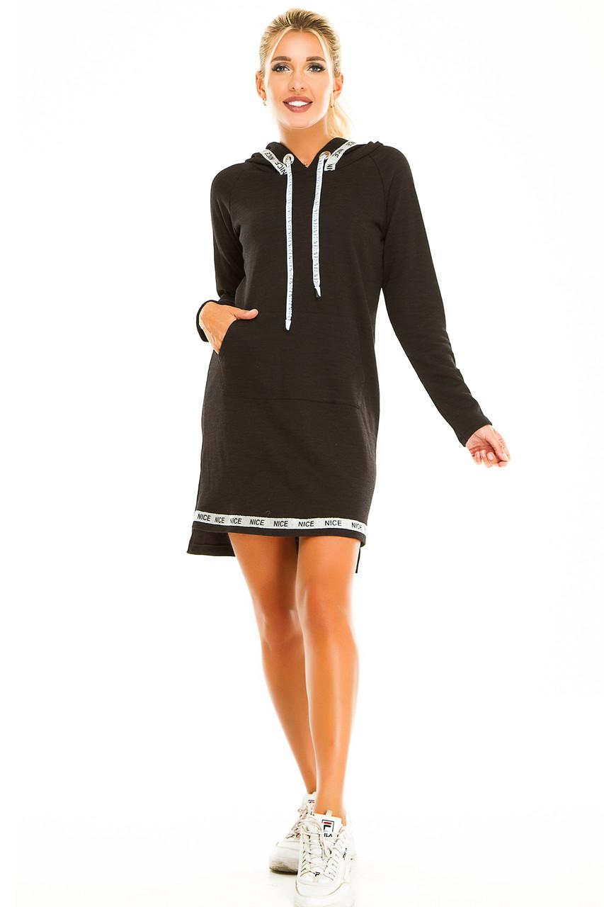 Платье с капюшоном 723 черное размер 42-44