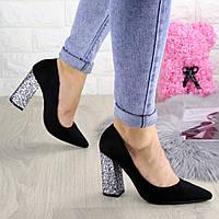 Туфли женские на каблуке черные Cora 1296