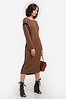 Универсальное женское платье свободного кроя цвета кемел
