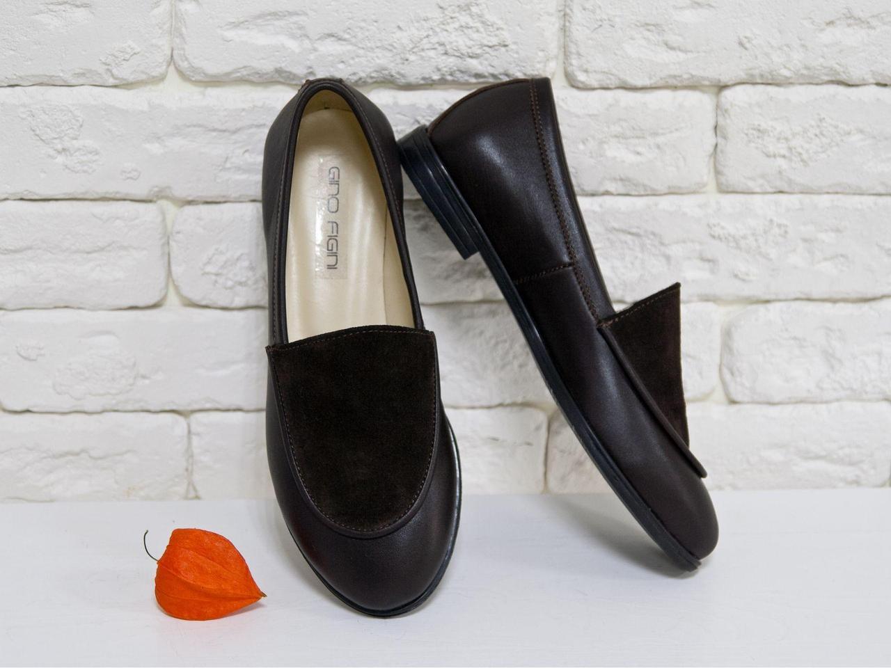 Облегченные туфли из натуральной кожи и замши шоколодного цвета с отстрочкой, Коллекция Весна-Осень, Т-17060