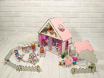 Домики для маленьких кукол Домик для LOL LITTLE FUN + мебель + текстиль + ДВОРИК высота этажа - 20 см