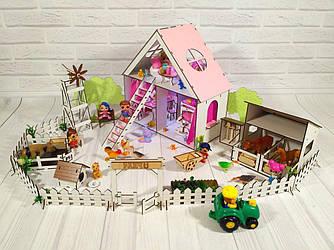 Домики для маленьких кукол Домик для LOL LITTLE FUN + мебель + текстиль + ФЕРМА высота этажа - 20 см