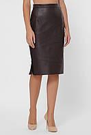 Деловая юбка из эко–кожи по колено 1034 (42–48р) в расцветках