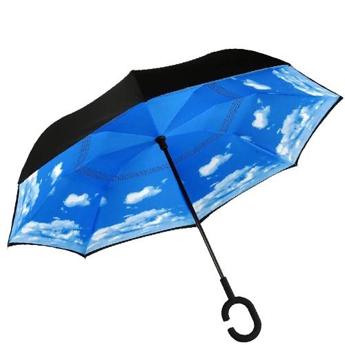 Зонт обратного сложения, антизонт, умный зонт, зонт наоборот Up Brella Голубое Небо 151015