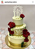Свадебный топпер молодожены под венчальной аркой Пластиковые топперы Топперы в блестках Топперы на заказ, фото 4