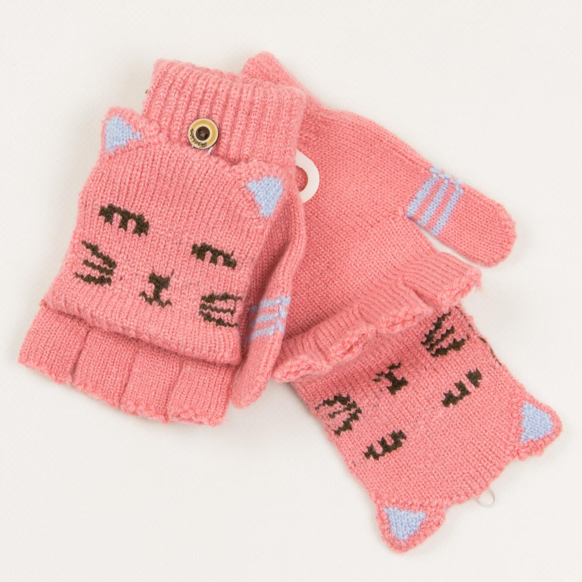 Митенки с накидкой для девочек возраста 5-8 лет - 19-7-48 - Розовый