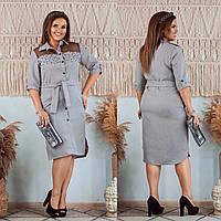 Платье из костюмного габардина, сетка флок, декорированное жемчугом, с рукавом 3/4, длиной по колено (48-58)