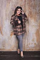 Женское пальто удлинённое из кашемира на пуговицах с длинным рукавом со съёмным мехом (42-58), фото 1