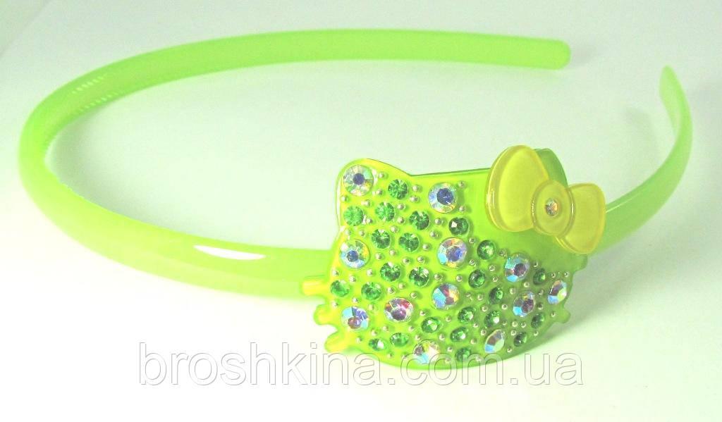 Обруч для волос Hello Kitty в стразах зеленый