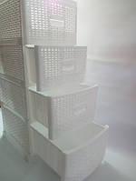 Комод пластиковый в стиле Ротанг (плетенка) 4 яруса Белый 350Х440Х900 мм Консенсус OST-085-1