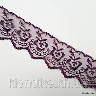 """Кружево органза """"Яблоко с вышивкой"""", Ширина: 4 см, Цвет: Фиолетовый (1 метр)"""