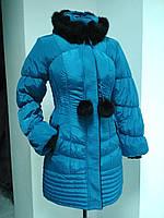 Зимняя длинная куртка с чёрным мехом кролика, фото 1