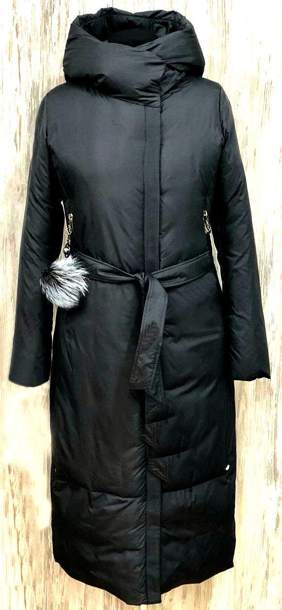 Длинный черный женский пуховик на биопуху  FODARLLOY 1272 скидка