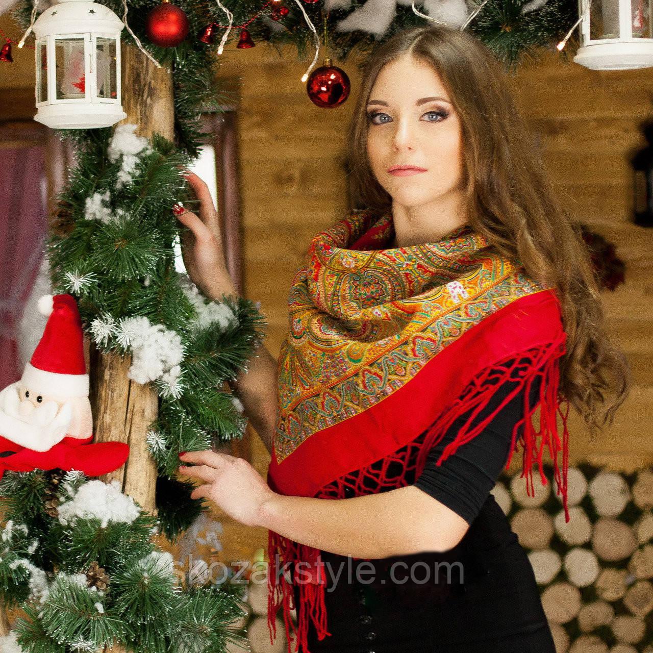 Українська хустка коричнево-червона (90х90)