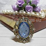 Клеевой декор в стразовой фигурной оправе, 30х26 мм, размер камня 18х13 мм, античная бронза, голубой, фото 2
