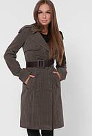 Брендовое двубортное женское пальто клетка, фото 1