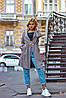 Женский молодежный кардиган плащ с карманами без застежки с шнурком по талии из буклированной ткани, фото 6