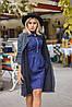 Женский молодежный кардиган плащ с карманами без застежки с шнурком по талии из буклированной ткани, фото 10