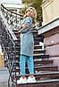Женский молодежный кардиган плащ с карманами без застежки с шнурком по талии из буклированной ткани, фото 2
