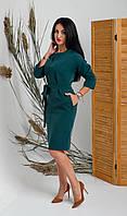Платье свободного кроя бутылочного цвета. Размеры 44, 46, 48,50, 52
