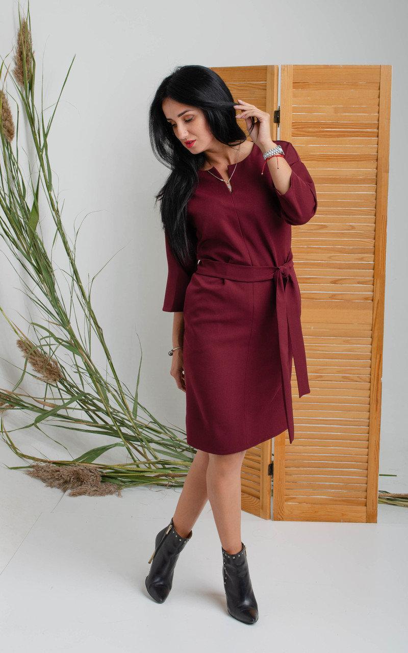 Платье свободного кроя цвета бордо. Размеры 44
