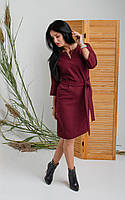 Платье свободного кроя цвета бордо. Размеры 44, фото 1
