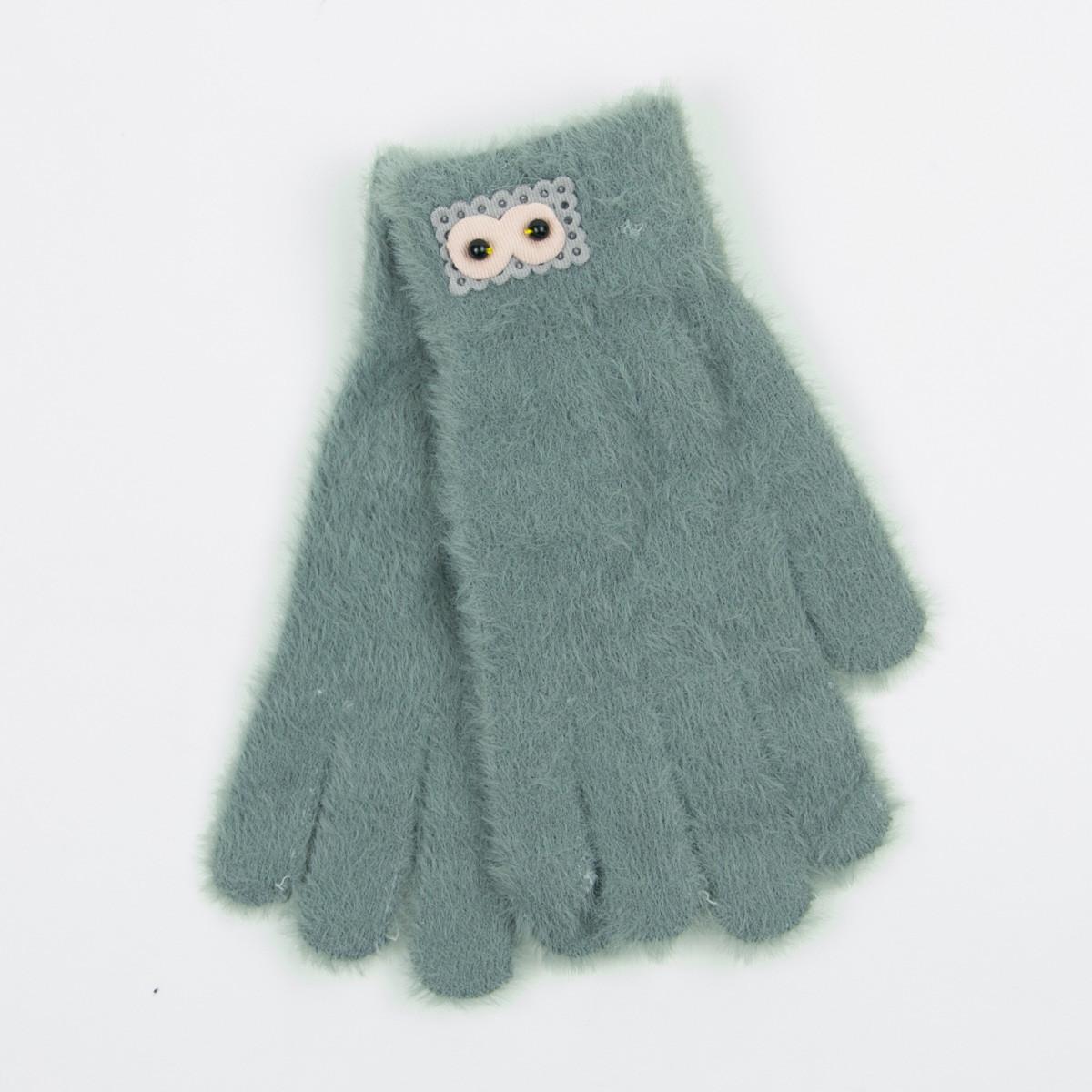Ангоровые перчатки для подростков 12-16 лет - 19-7-50 - Серый