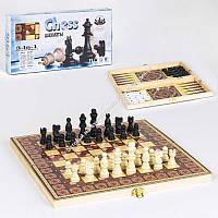 Шахматы 3в1 С 36818  деревянная доска, в коробке (ОПТОМ)