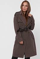 Модное демисезонное женское пальто в клетку, фото 1