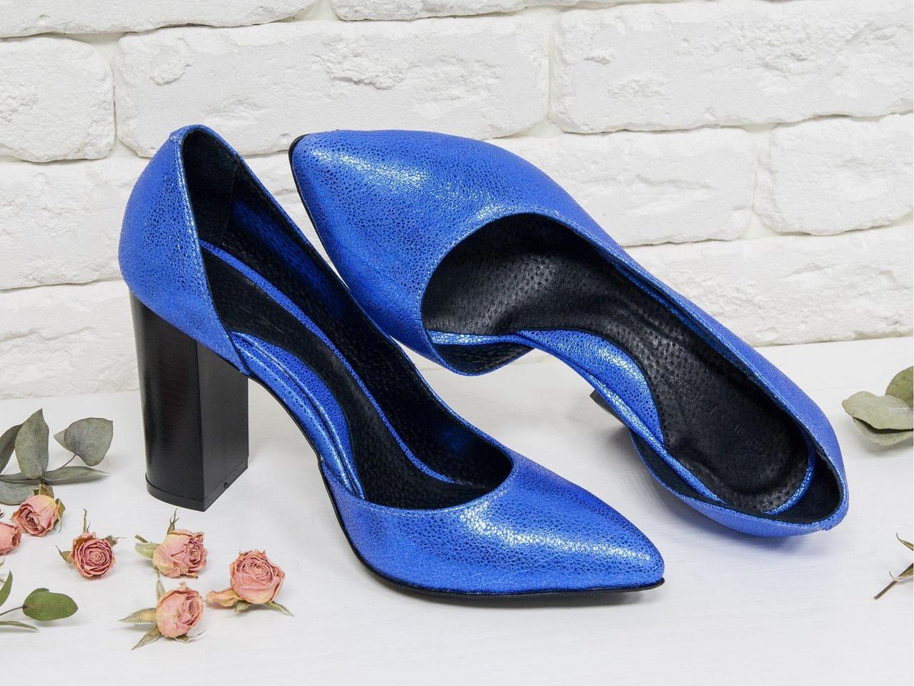 Эксклюзивные туфли из натуральной кожи невероятно красивого синего цвета с блеском, на устойчивом глянцевом каблуке , Лимитированная серия,