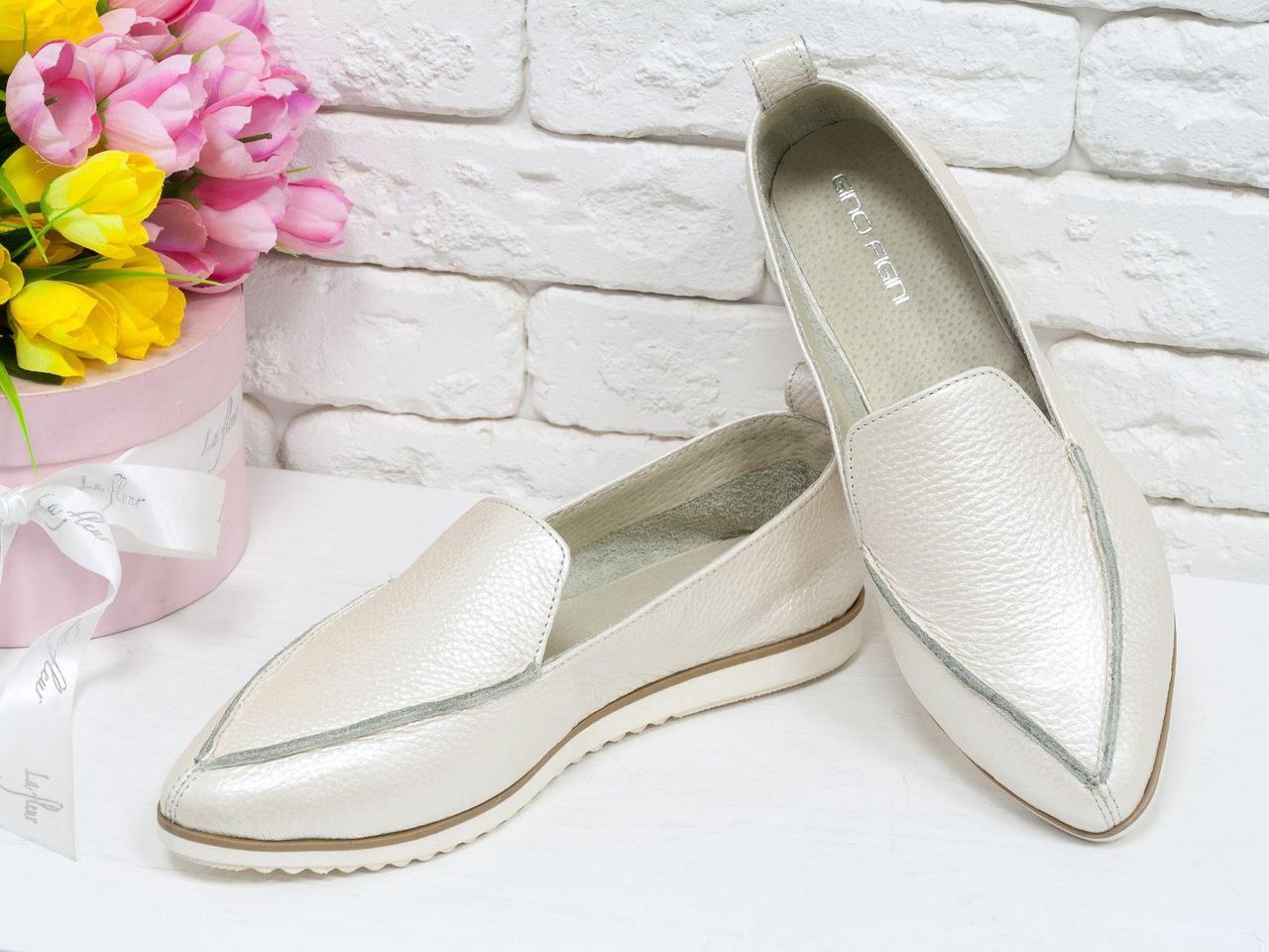 Облегченные туфли из натуральной кожи светло бежевого цвета  с перламутровым переливом,  Т-1707-14