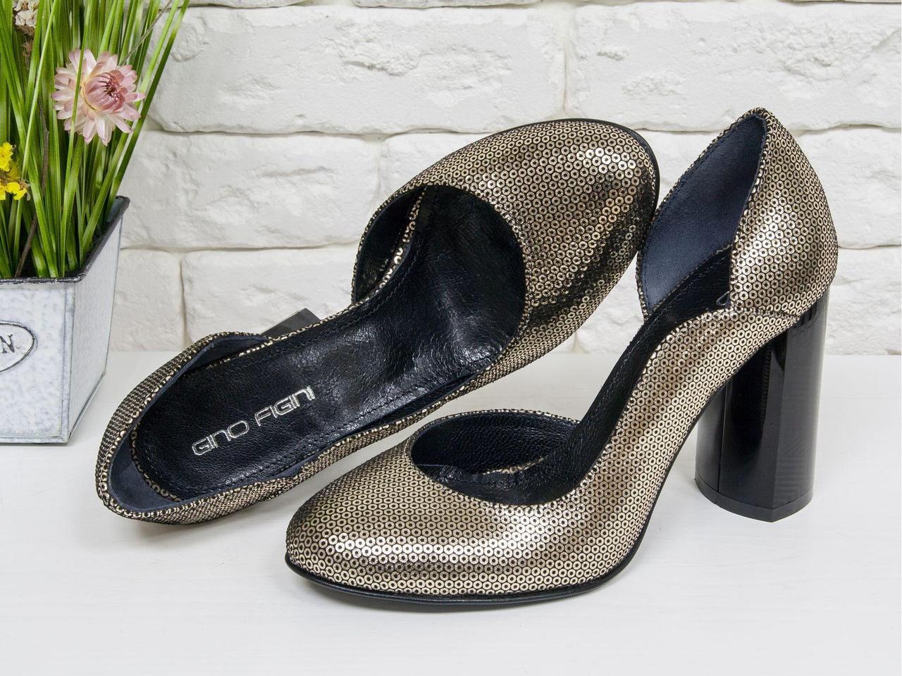 """Классические туфли из эксклюзивной натуральной кожи золотого цвета """"Disco"""", на устойчивом глянцевом каблуке с геометрическим рисунком, Лимитированная"""
