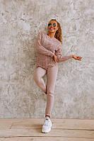 Вязаный женский костюм с ажурным свитером, фото 1
