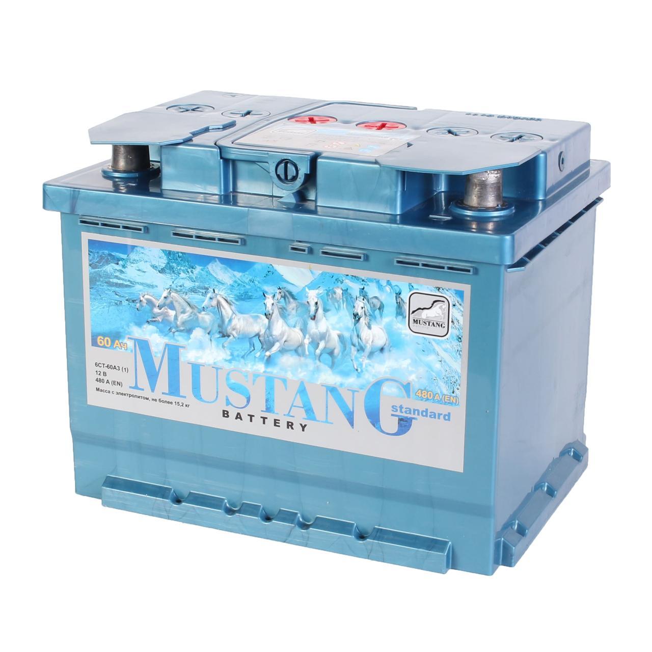 Аккумулятор автомобильный MUSTANG 6CT 60Ah, пусковой ток 480А [+ –]