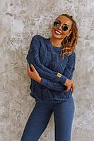 Синий вязаный женский костюм со свободным свитером, фото 1