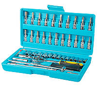 "Набір насадок торцевих CrV 1/4"" з тріскачкою 24 зуба, 46 шт в кейсі. Арт. 78-6046"