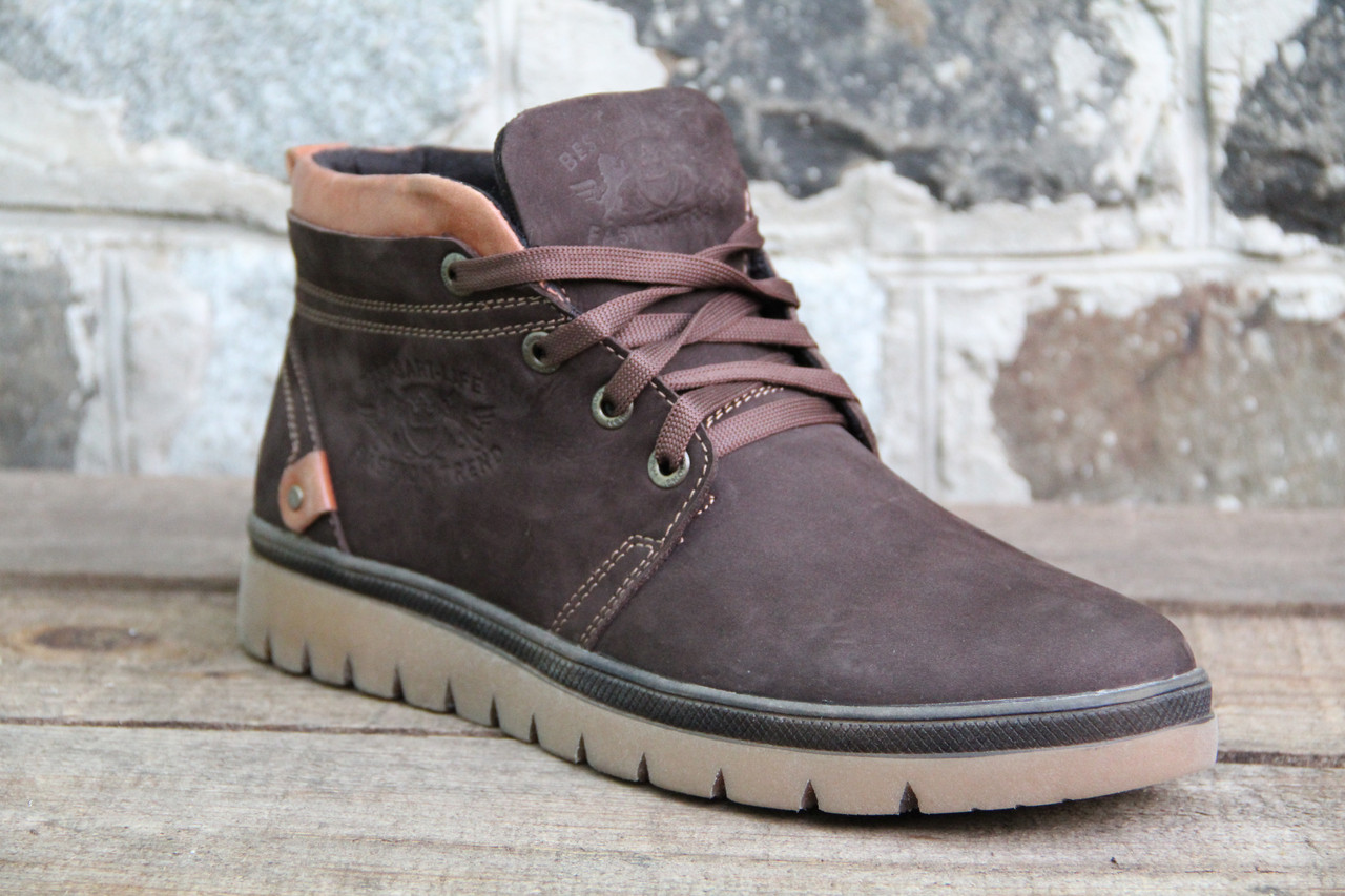 Мужские ботинки зимние из натуральной кожи и меха SART 725