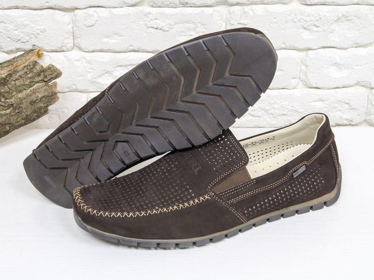 Летние мужские Туфли мокасины из перфорированной замши темно коричневого цвета, на эластичной подошве Т-32