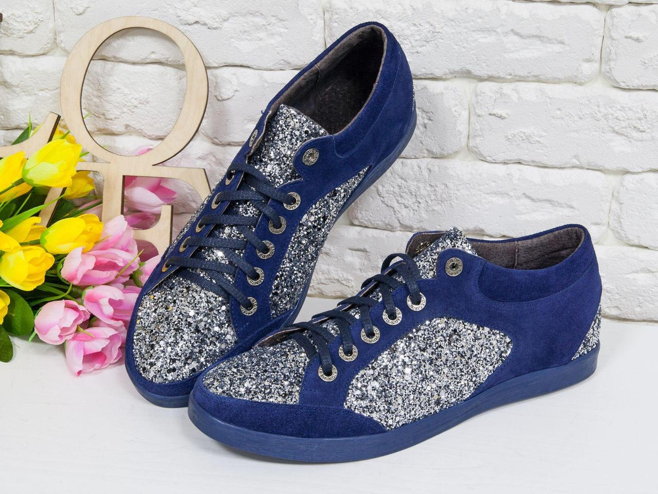 Блестящие Кеды из натуральной замши синего цвета в комбинации с блестками серебряного цвета на текстильной основе и прорезиненной синей подошвой,
