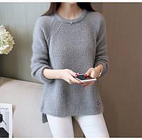 Женский теплый свитер ( три расцветки) серый