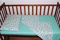 Постельный комплект ручной работы в детскую кроватку (005)
