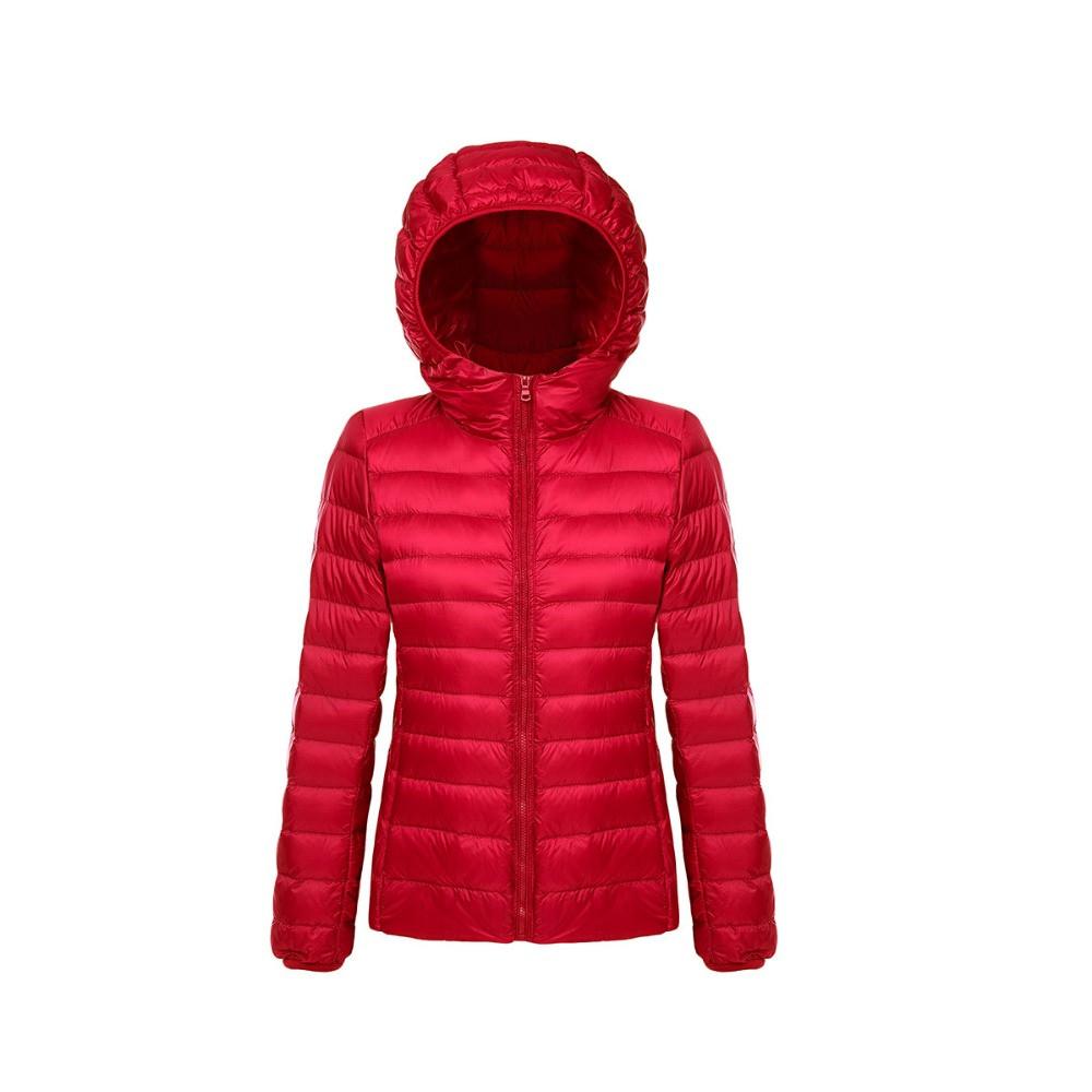 Женская ультралегкая  красная куртка пуховик на молнии с капюшоном  M  скидка