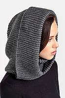 Теплый женский снуд с капюшоном темно-серый