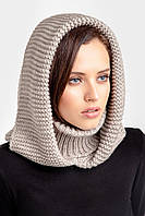 Зимний женский снуд с капюшоном лен, фото 1
