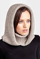 Зимний женский снуд с капюшоном лен