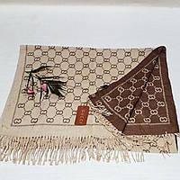Женский шарф Gucci (Premium-class) коричнево-бежевый